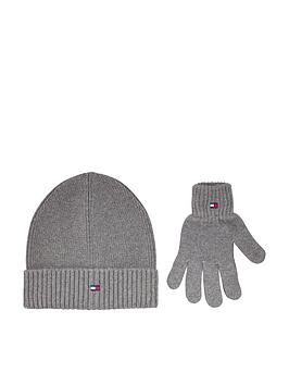 tommy-hilfiger-kids-knitted-beanie-and-gloves-gift-set-grey