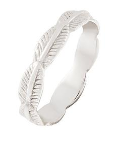 accessorize-sterling-silver-feather-ring-silver