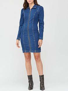 v-by-very-long-sleevenbspdenim-zip-through-dress-mid-wash