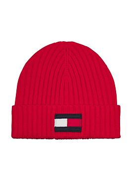 tommy-hilfiger-kids-large-flag-beanie-red