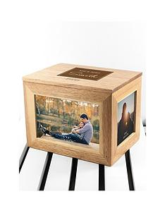 treat-republic-personalised-contemporary-mr-amp-mrs-midi-oak-photo-cube-keepsake-box