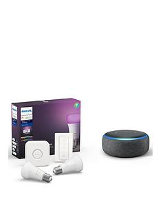 philips-hue-bt-white-and-colour-ambiance-e27-2-set-bridge-dimmer-and-amazon-echo-dot-3rd-gen