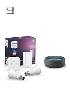 philips-hue-bt-white-and-colour-ambiance-2-set-bridge-dimmer-kit-and-amazon-echo-dot-3rd-gen