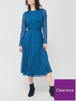 v-by-very-dobby-twist-front-midi-dress-navy