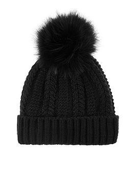 accessorize-luxe-pom-beanie-black