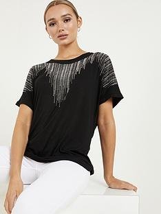 quiz-polyester-diamante-round-neck-short-sleeve-boxy-top-black