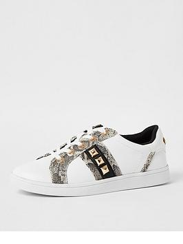 river-island-wide-fit-snake-detail-trainer-white