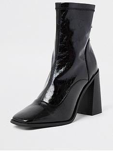 river-island-block-heel-patent-sock-boot-black