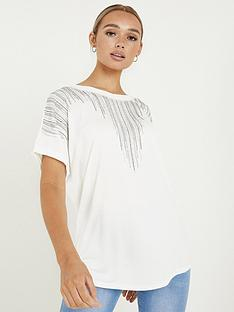 quiz-polyester-diamante-round-neck-short-sleeve-boxy-top-white