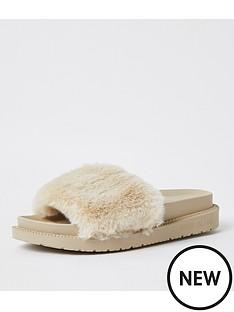 river-island-faux-fur-slider-slipper-cream
