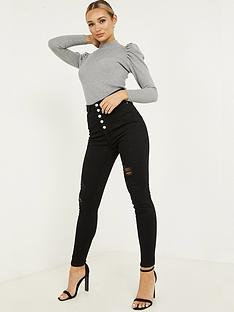 quiz-denim-stretch-high-waist-button-detail-jean-black