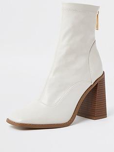 river-island-block-heel-patent-sock-boot-white
