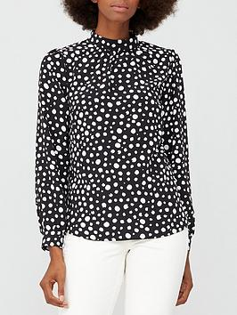 v-by-very-high-neck-printed-shell-top-black