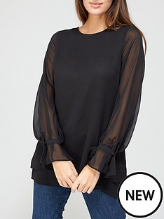 v-by-very-georgette-double-layer-blouse-black