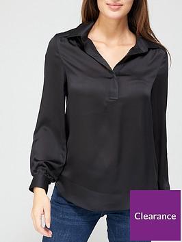 v-by-very-shirred-shoulder-notch-neck-black