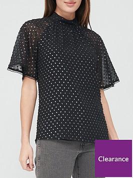 v-by-very-lurex-dobby-angel-sleeve-blouse-black