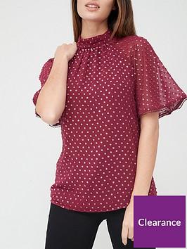 v-by-very-lurex-dobby-angel-sleeve-blouse-burgundy
