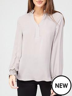 v-by-very-frill-notch-neck-blouse-grey