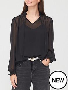 v-by-very-tie-necknbspblouse-black