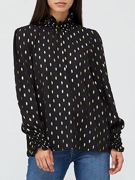 v-by-very-high-neck-georgette-foil-blousenbsp--black