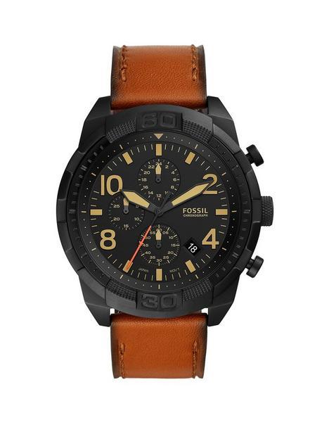 fossil-bronson-black-multi-dial-tan-strap-watch