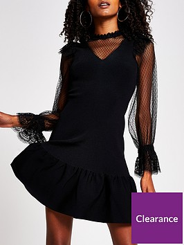 river-island-lace-detail-knitted-dress-black