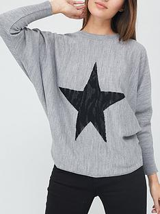 v-by-very-star-front-jumper-grey