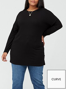 v-by-very-curve-button-detail-tunic-black