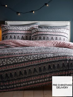 silentnight-nordic-stripe-fleece-duvet-cover-set