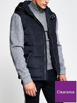 river-island-hugo-knitted-sleeve-jacket-navy
