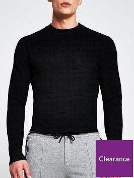 river-island-long-sleevenbspwaffle-knitted-jumper-black