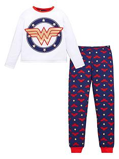 wonder-woman-girls-wonder-woman-foil-print-long-sleeve-pjs-white