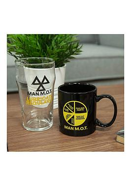 Product photograph showing Ministry Of Humour Mug Beer Glass - Man M O T