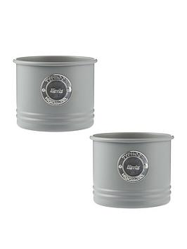 Product photograph showing Typhoon Living Set 2 Metal Herb Planters