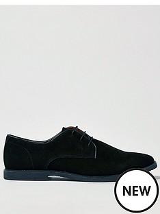 topman-spark-faux-suede-derby-shoes-black