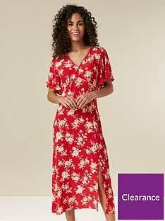 wallis-floral-midi-dress-red