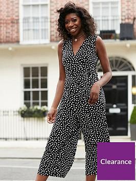 wallis-smudge-spot-wrap-culotte-jumpsuit-black