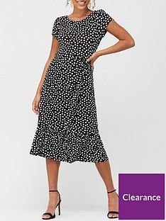 wallis-spot-tiered-midi-dress-black