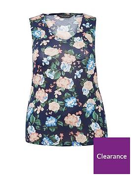 dorothy-perkins-curve-floral-print-vest-navynbsp