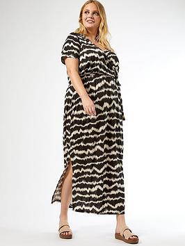 dorothy-perkins-curve-wrap-maxi-ikat-print-dress-black