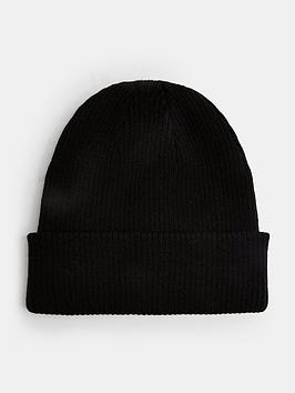 topman-ribbed-beanie-hat-black