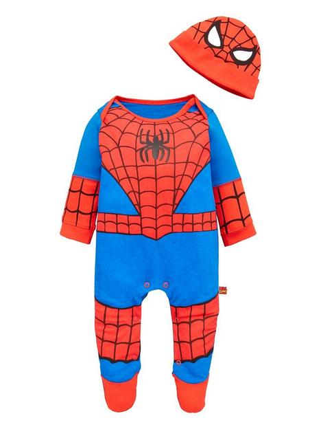 spiderman-baby-boy-spiderman-2-piece-novelty-babygrow-and-hat-set-multi