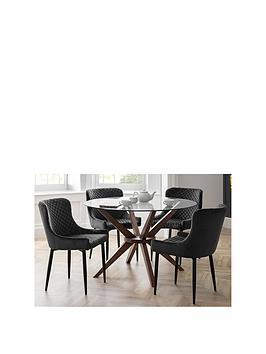 julian-bowen-set-of-chelsea-120nbspcm-round-glass-top-diningnbsptable-4-luxe-grey-chairs