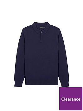 burton-menswear-london-fine-gauge-knitted-zipnbsppolo-jumper-navy