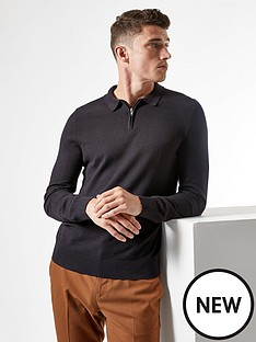 burton-menswear-london-fine-gauge-knitted-zipnbsppolo-jumper-blacknbsp
