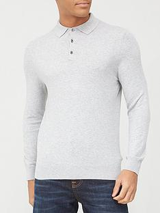 burton-menswear-london-fine-gauge-knitted-polo-top-grey