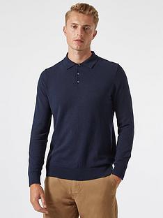 burton-menswear-london-fine-gauge-knitted-polo-top-navy