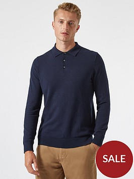 burton-menswear-london-fine-gauge-knitted-polo-top-navy