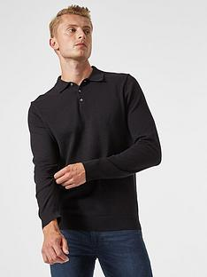 burton-menswear-london-fine-gauge-knitted-polo-top-black