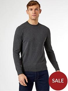burton-menswear-london-fine-gauge-crew-neck-jumper-grey
